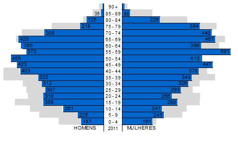 Pirâmide Etária da População do Concelho